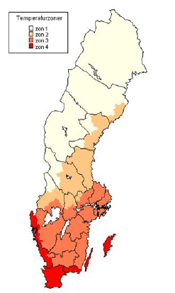 The four temperature zones are classified in Sweden