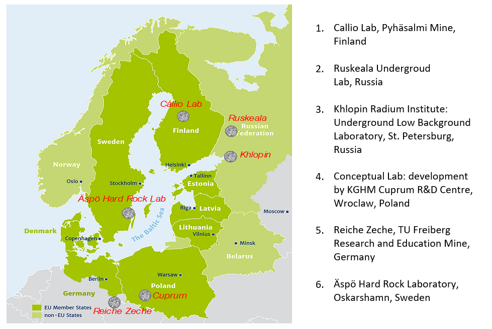The location of the Baltic Sea Innovation Network Unground Labs around the Baltic Sea