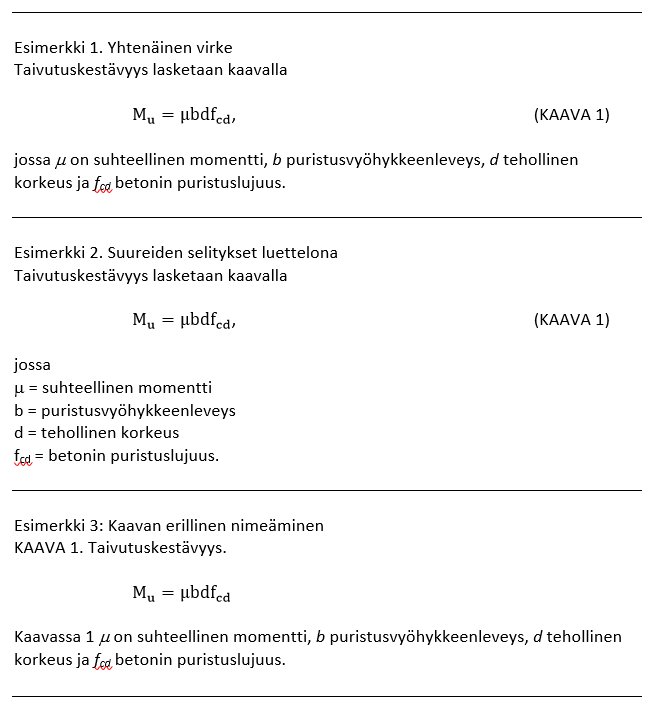 Esimerkki 1, yhtenäinen virke Esimerkki 2, suureiden selitykset luettelona Esimerkki 3, kaavan erillinen nimeäminen